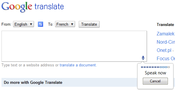 google translate  now with voice input