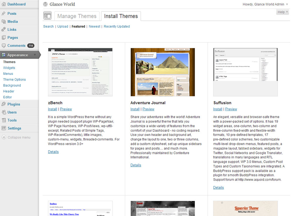 WordPress 3.2 Theme View
