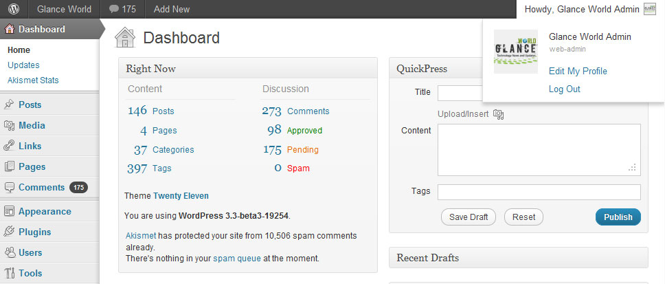 WordPress 3.3 Admin Bar
