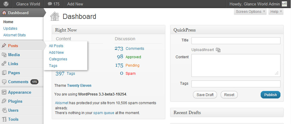 WordPress 3.3 Flyout Menu