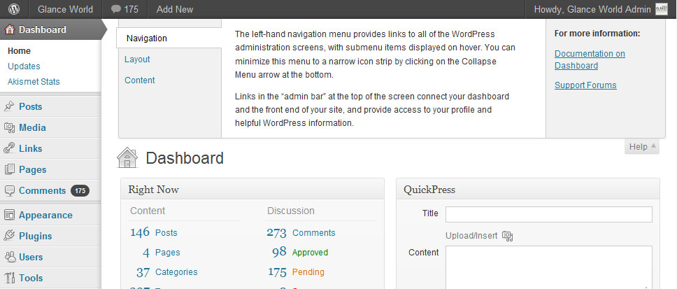 WordPress 3.3 Help Section