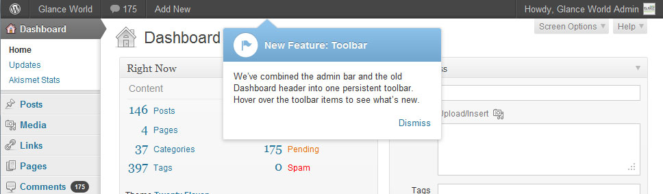 WordPress 3.3 Tooltip