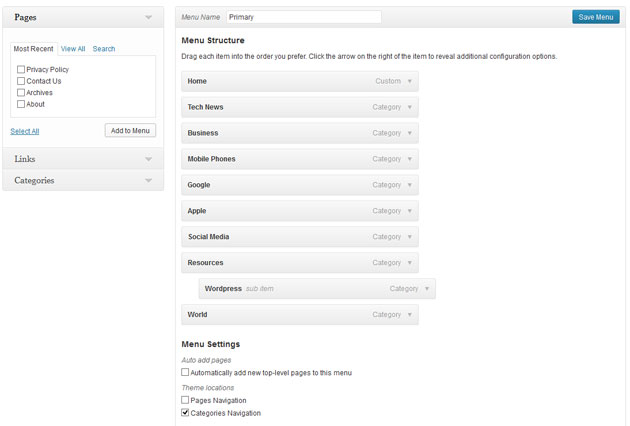 WordPress 3.6 Navigation Menu